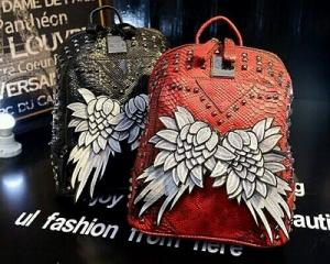 2015 Fashion Angel Wing Leather Backpack