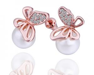 18K Gold Plated Butterfly Pearl Earrings