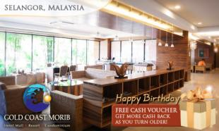 Valid all of 2013! 65% OFF Malaysia Book of Records Gold Coast Morib Birthday Special: 2D1N in Studio Suite with Jacuzzi + Breakfast + Buffet Dinner + Theme Park Admission + Birthday Gift + Birthday Cake + Certificate of Participation + Cash Voucher.
