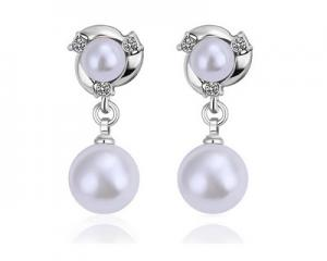 18K Plated White Pearl Drop Earrings