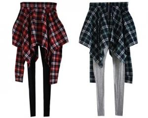 Korean Style 2-In-1 Checkered Legging