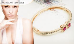 77% OFF Double Hearts Swarovski Crystal Bangle. Made with Swarovski Elements. Free Delivery Nationwide!