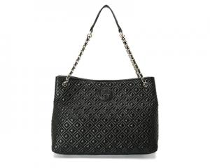 Chain-Shoulder Slouchy Tote Black